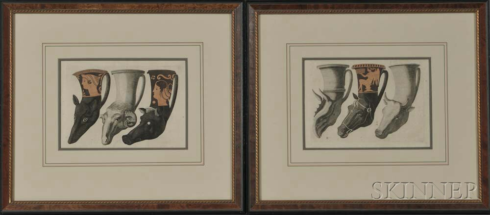 British School, 18th Century      Two Engravings of Rhyton Cups (Animal Head Vessels)