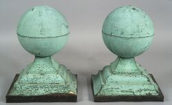 Pair of Sheet Copper Architectural Ball Finials
