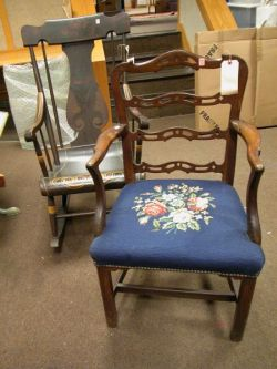 Pennsylvania Paint Decorated Rocking Armchair and a Chippendale Needlepoint Upholstered Mahogany Armchair.