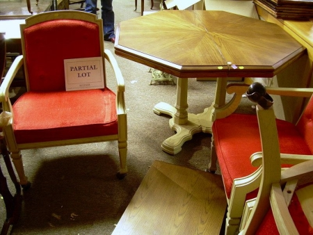 Set of Four French Moderne-style Upholstered Painted Oak Armchairs and a Card Table.