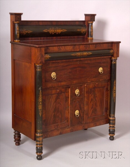Classical Cherry, Mahogany and Rosewood Veneer and Stencil Decorated Sideboard