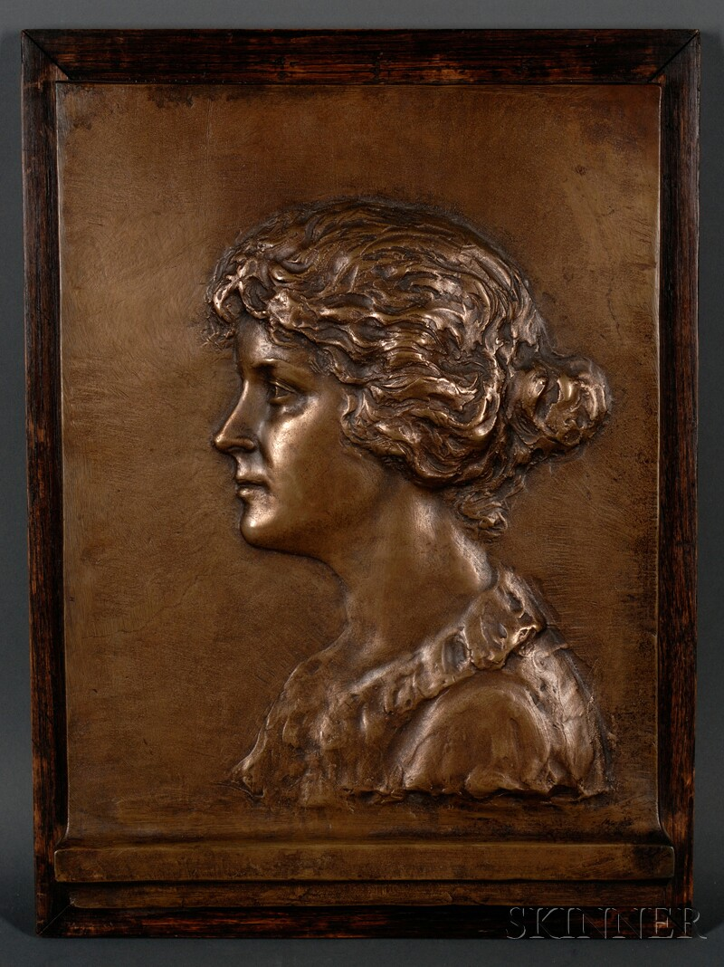 Arts & Crafts Bronze Portrait, Boston, Massachusetts, c. 1905