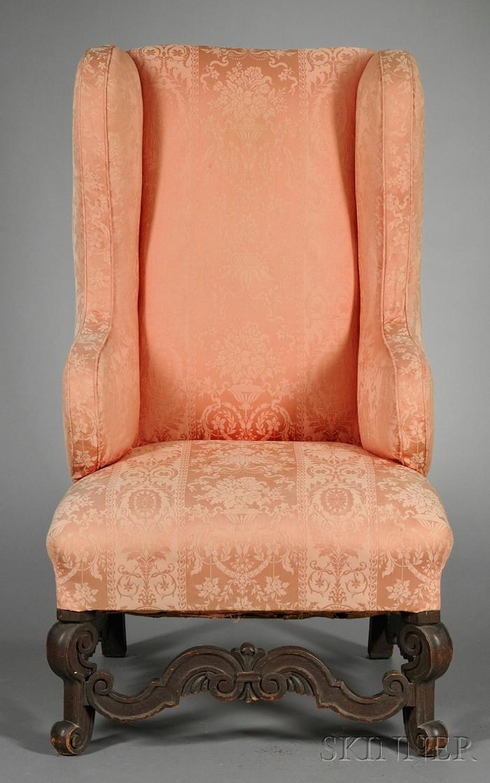 Baroque-style Oak Wing Chair