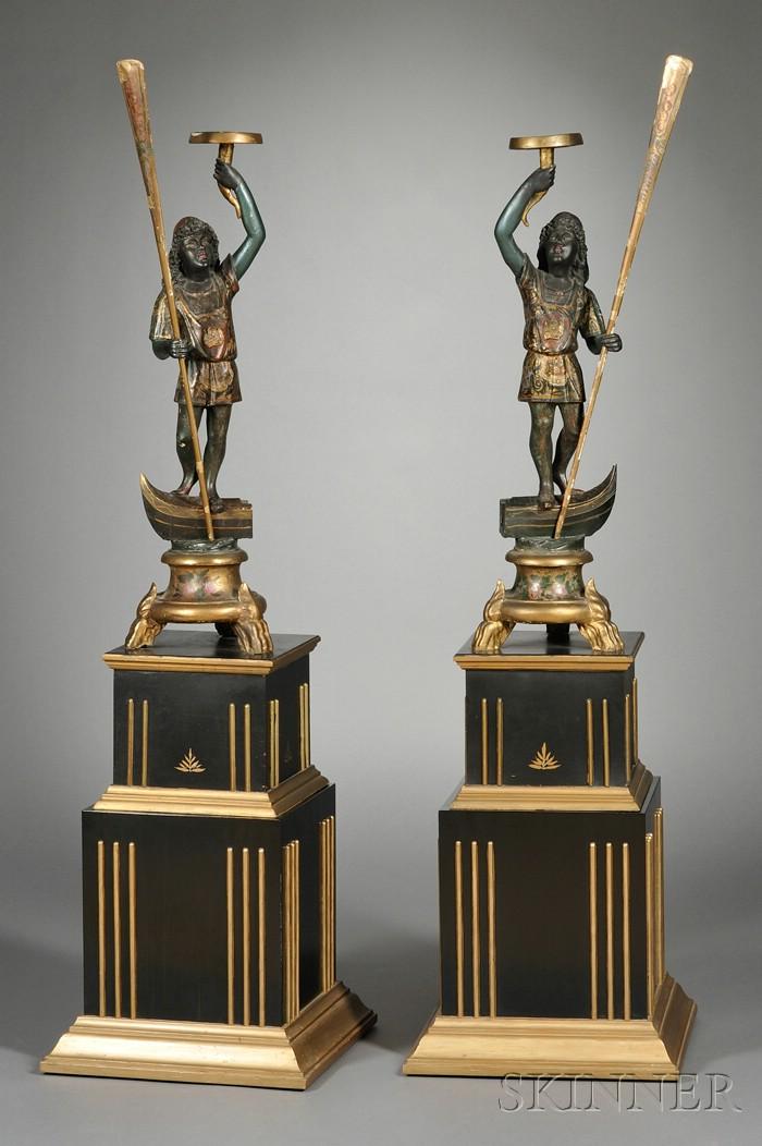 Pair Venetian Painted and Parcel-gilt Blackamoor Figures on Bases