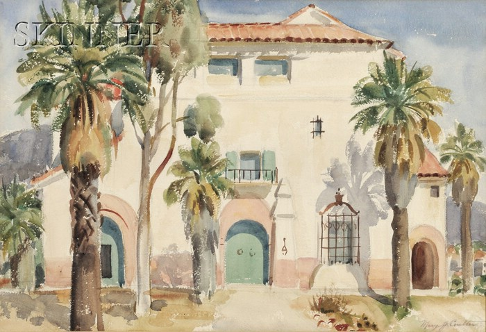 Mary Jencques Coulter  (American, 1880-1966)      View of a Mission Revival Style Home / A California Landscape
