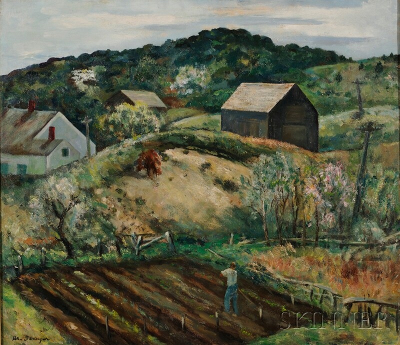 Helen Alton Farnsworth Sawyer (American, 1900-1999)      North Truro Farm Scene with Houses