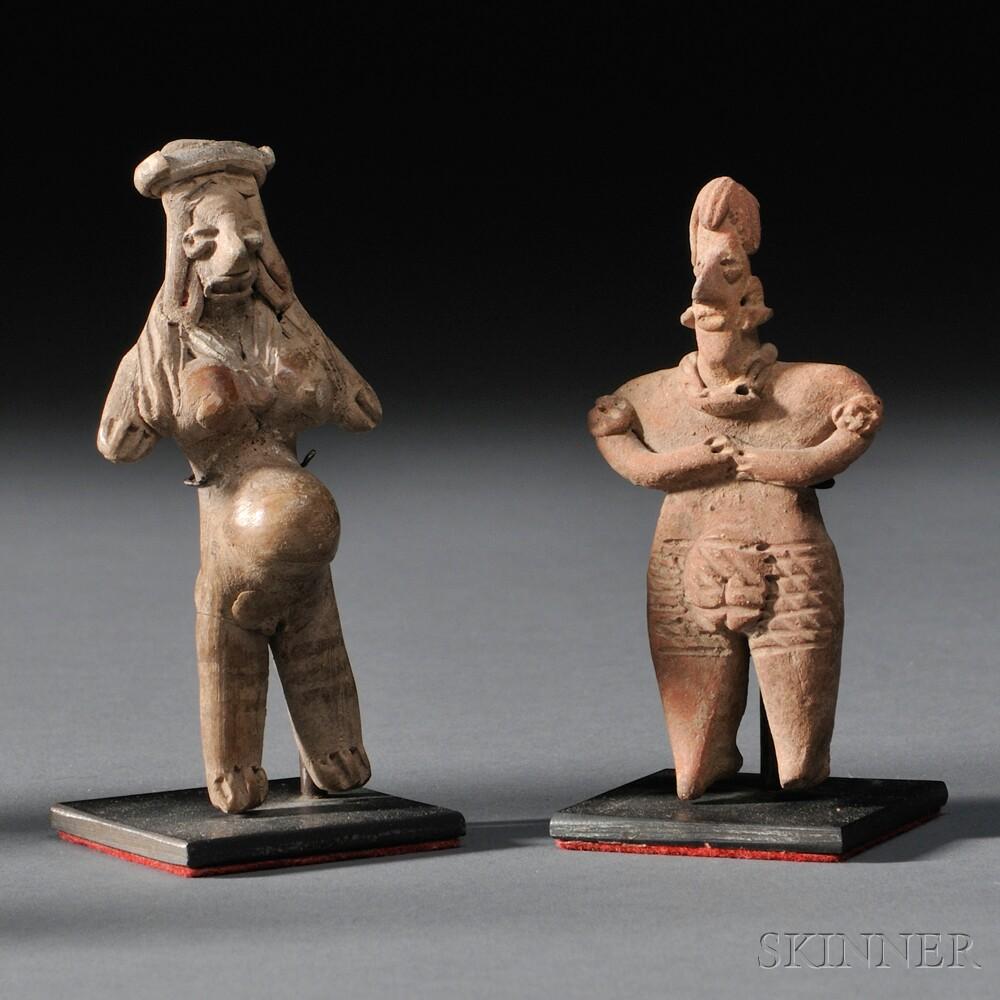 Two Miniature Jalisco Pottery Female Figures