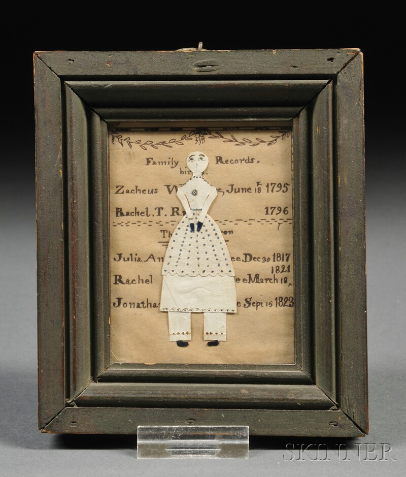 Framed Miniature Family Record and Cut Paper Doll Composition