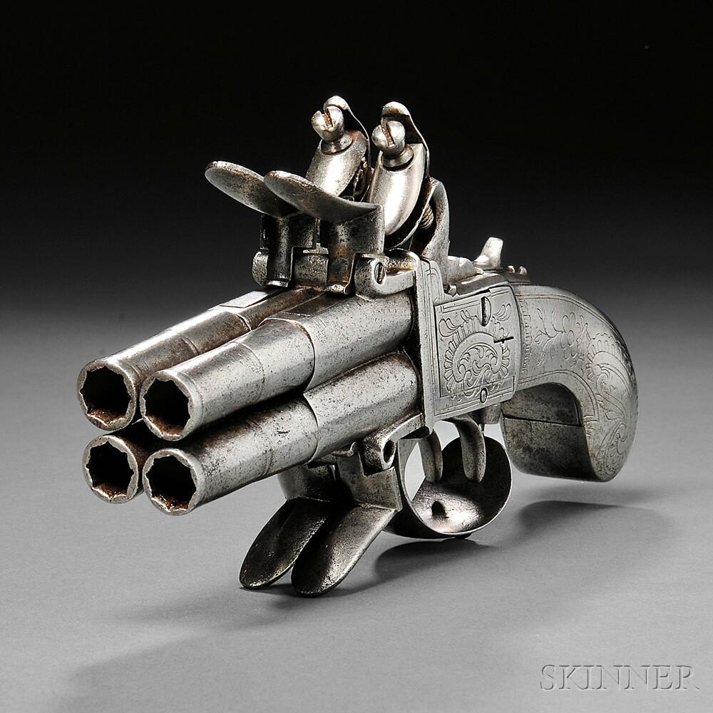 Continental Four-barrel Flintlock Pistol