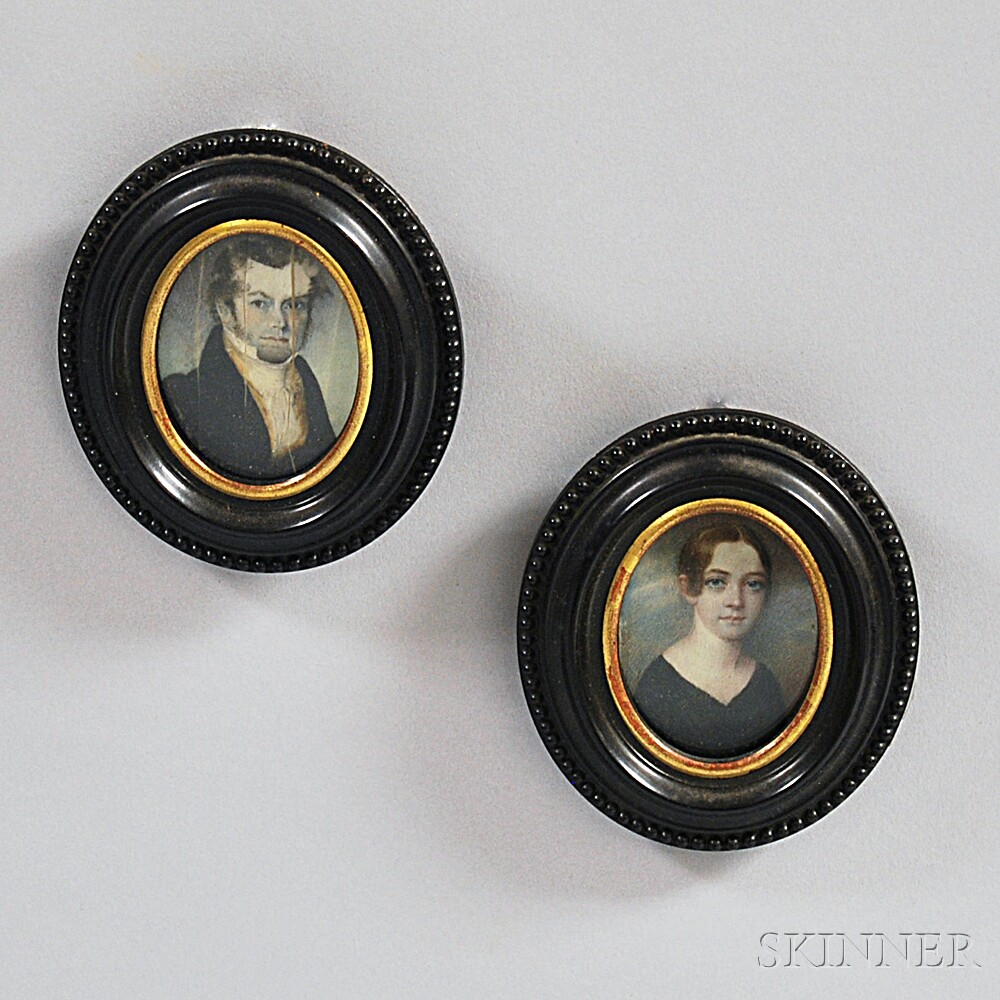 Pair of Framed Portrait Miniatures on Ivory