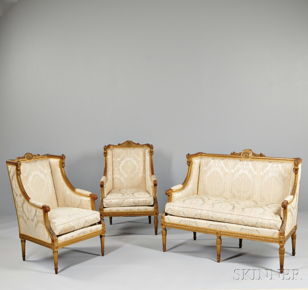 Three-piece Louis XVI-style Giltwood Seating Suite