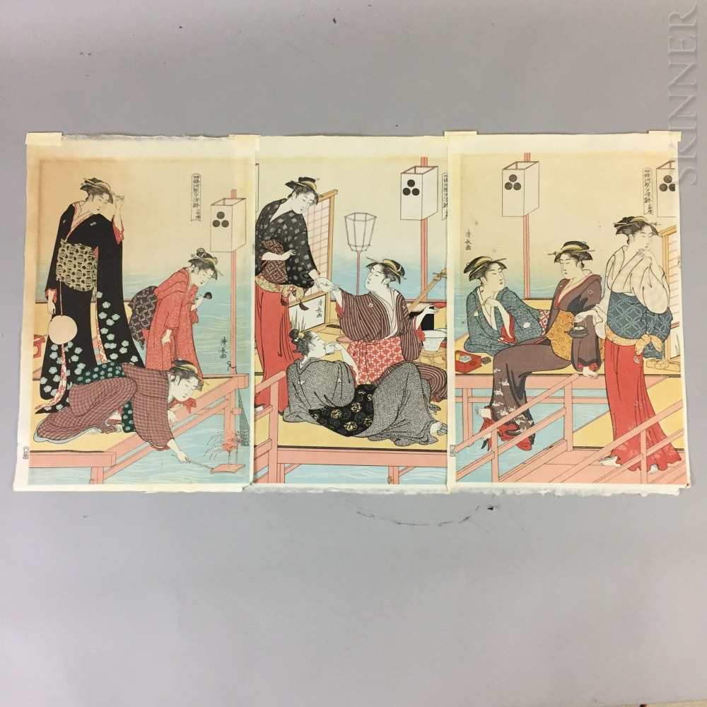 Torii Kiyonaga (1752-1815) Triptych