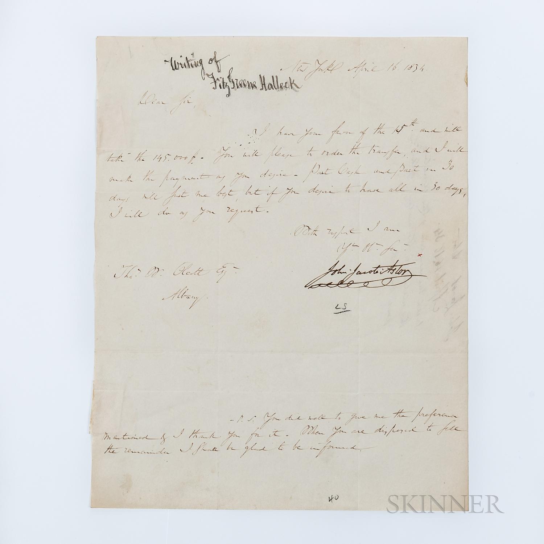 Astor, John Jacob (1763-1848) Letter Signed, New York, New York, 16 April 1834.