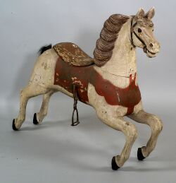 Carved and Painted Jumping Wooden Carousel Horse