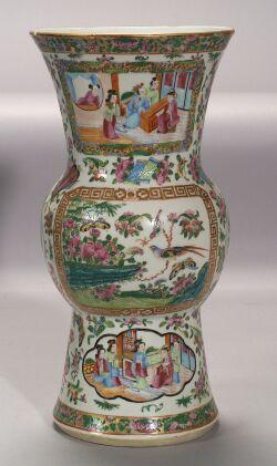 Rose Medallion Ku-form Porcelain Vase