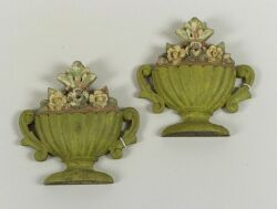 Pair of Polychrome Painted and Carved Wooden Urn and Flower Finials