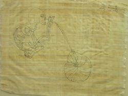 Framed Pen and Ink Drawing of a Skeleton