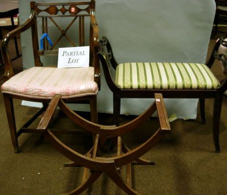 Pair of Regency-style Mahogany Armchairs, a Luggage Stand, and Bench.