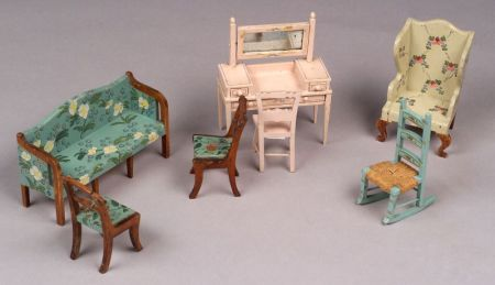 Seven Pieces of Tynie Toy Doll House Furniture