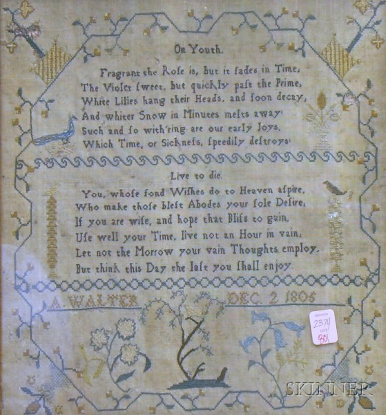 "Bird's-eye Maple Framed 1805 A. Walter Needlework Verse Sampler ""On Youth"" and ""Live   to Die,"""