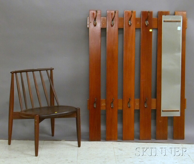 Vertical Wood Slat and Mirrored Coat Wall Rack and a Modern Teak Spindle-back   Side Chair