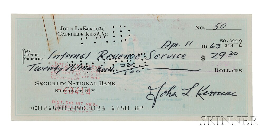 Kerouac, Jack (1922-1969) Signed Check, 11 April 1963.