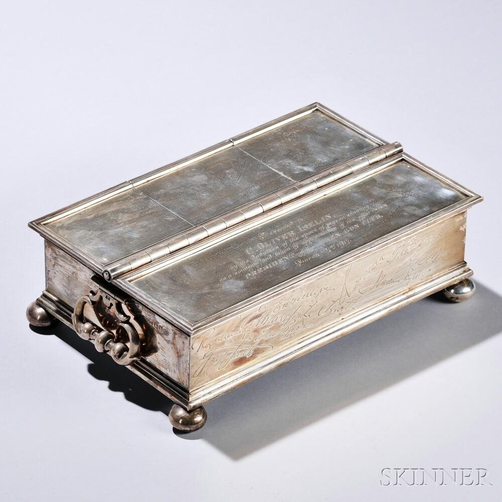 George V Britannia Silver Presentation Desk Set