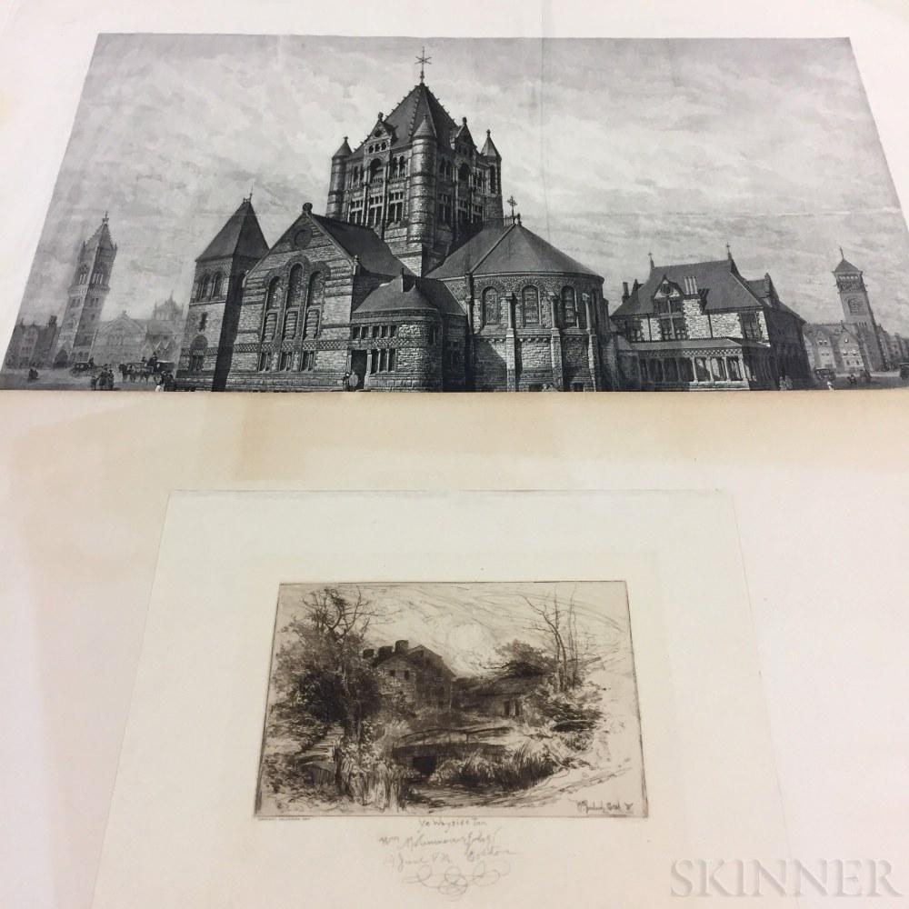Two Prints of Boston Area Landmarks by Massachusetts Artists:      G.E. Johnson (American, 19th/20th Century), Trinity Church