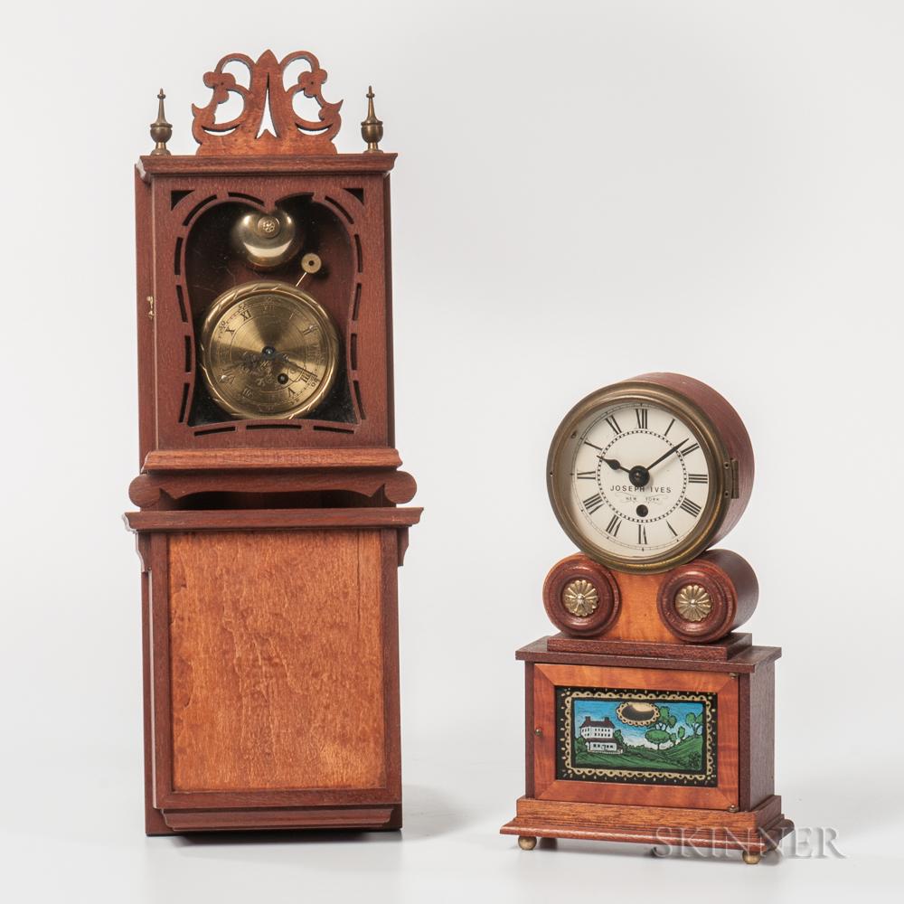 Two Michael Paul Miniature Reproduction American Clocks