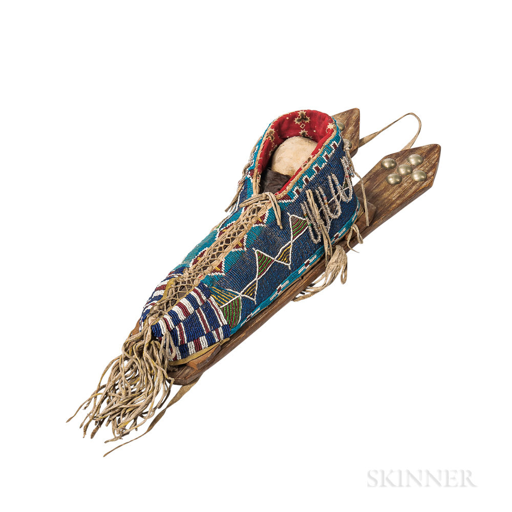 Kiowa Beaded Cloth and Hide Model Cradle