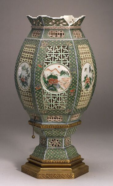 Pair of Chinese Porcelain Lantern-style Lamps