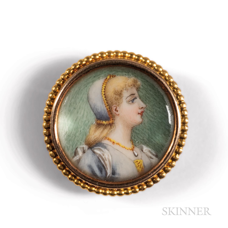 Antique 18kt Gold Portrait Miniature Pendant/Brooch