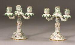 Pair of Meissen Porcelain Candelabra