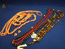 Group of Coral, Lapis, Tigers-eye and Hardstone Beads.