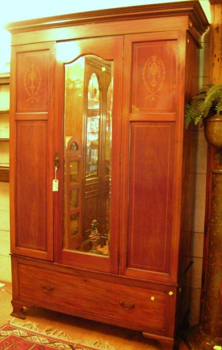 Edwardian Mahogany and Inlay Mirrored Wardrobe