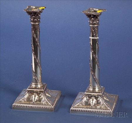 Pair of Edward VII Silver Classical Revival Candlesticks