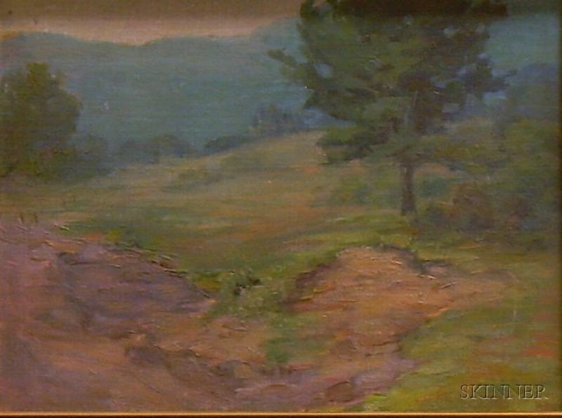 Framed American School Oil on Canvasboard Landscape with a Field and Tree