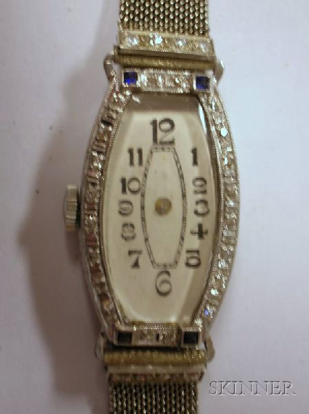 Platinum, Diamond, and Sapphire Cased Lady's Wristwatch