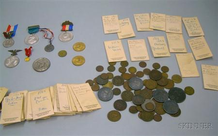 Collection of Approximately Seventy-four 18th-20th Century United States   Political, Moral, and Commemorative Tokens and Six Medals