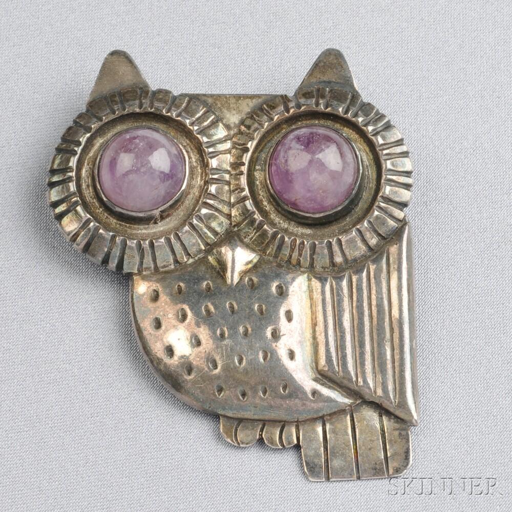 Silver and Amethyst Owl Brooch, William Spratling