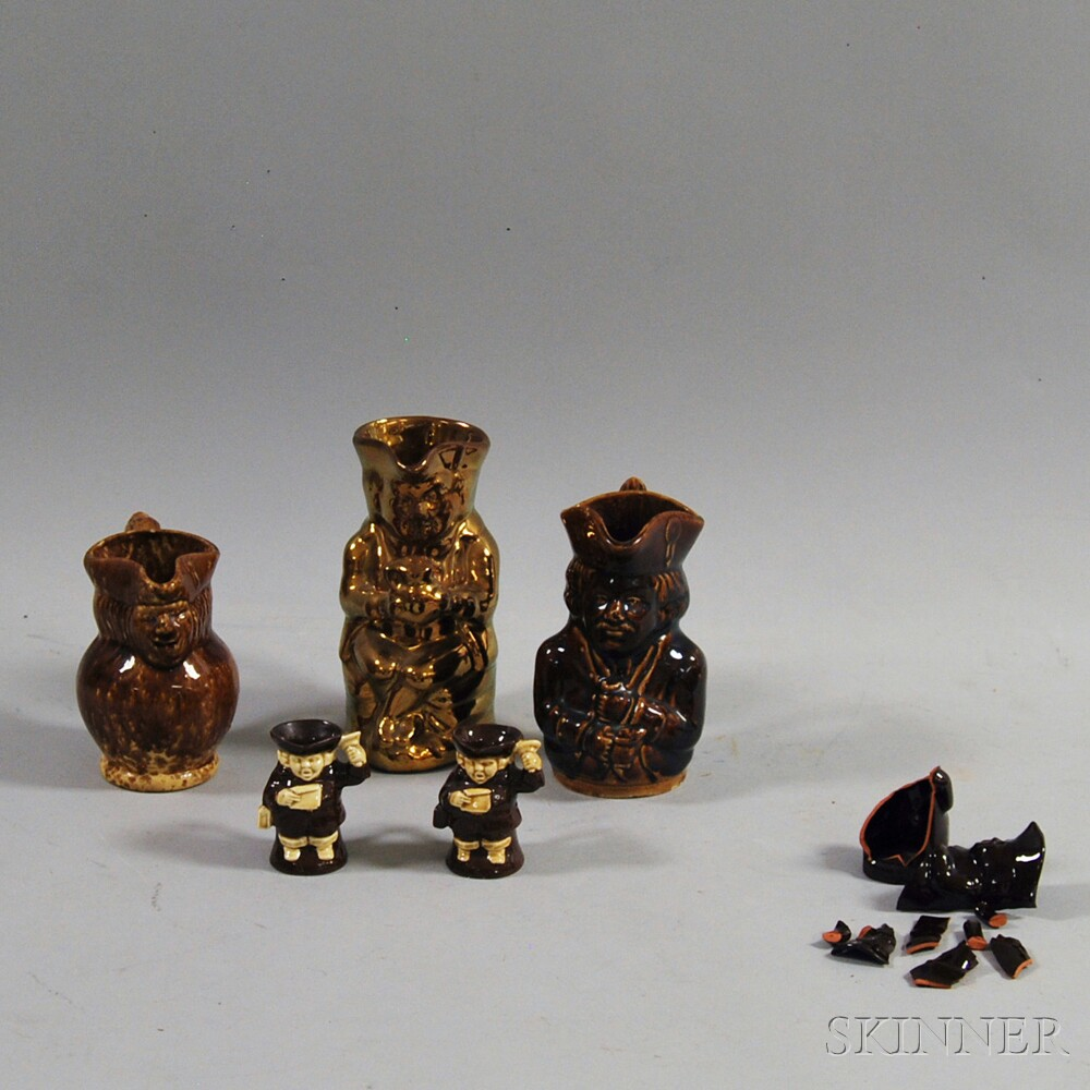 Five Brown-glazed Toby Jugs