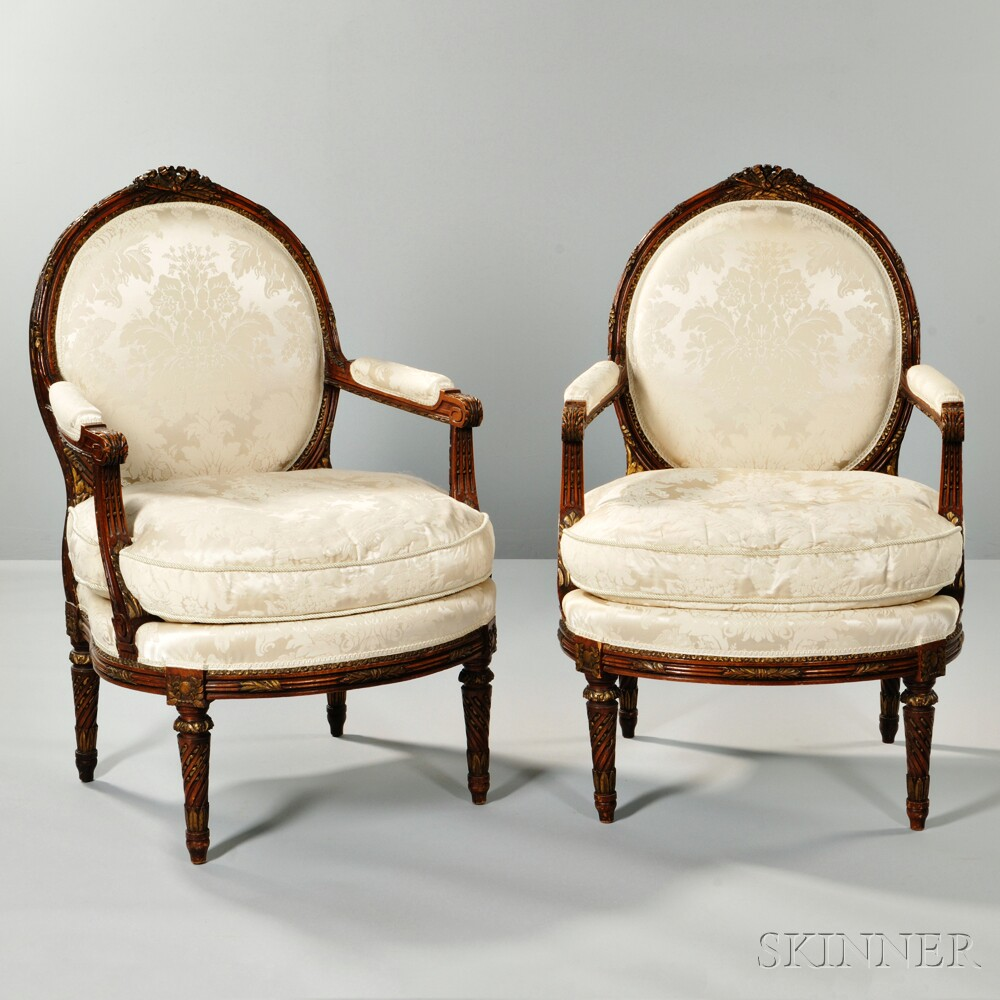 Pair of Louis XVI-style Parcel-giltwood Armchairs