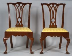 Pair of Chippendale Walnut Carved Side Chairs