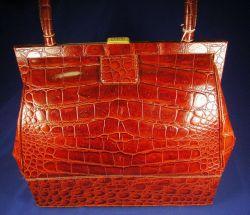 Gianfranco Ferre Boutique Brown Leather Alligator Handbag