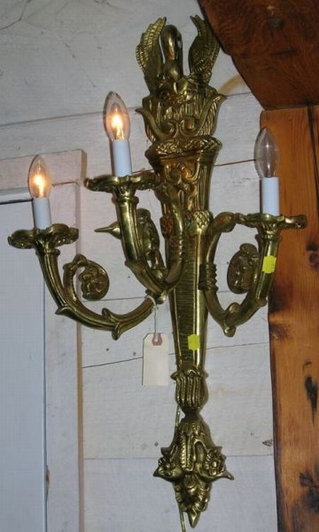 Pair of Neoclassical Gilt Brass Three-Arm Wall Sconces