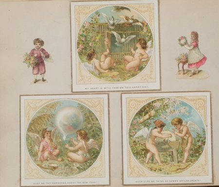 Victorian Album of Chromolithograph Greeting Cards and Die-cuts
