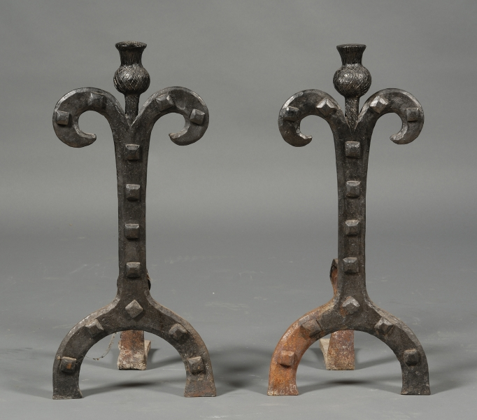 Pair of Arts and Crafts Style Andirons, Fire Tools and Screen
