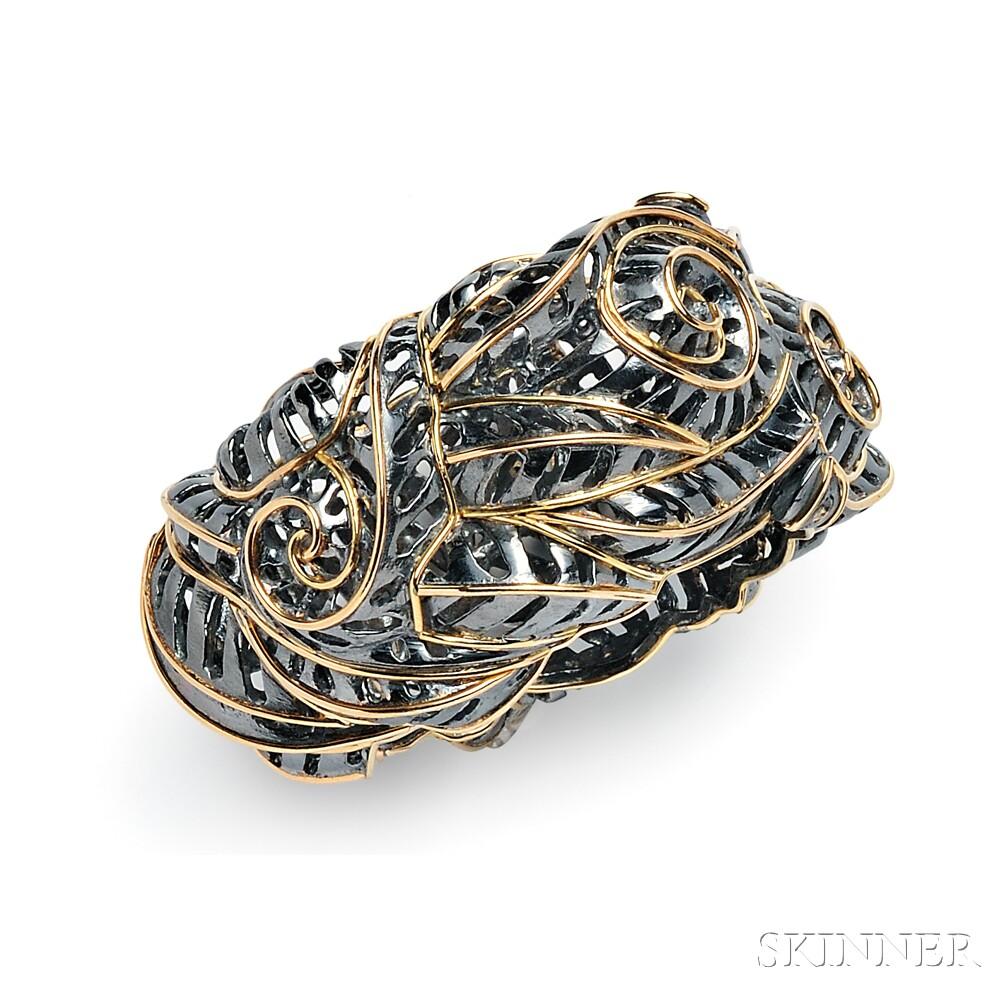 """Blackened Silver and 18kt Gold """"Chrysler Redux"""" Bracelet, Marilyn Cooperman"""