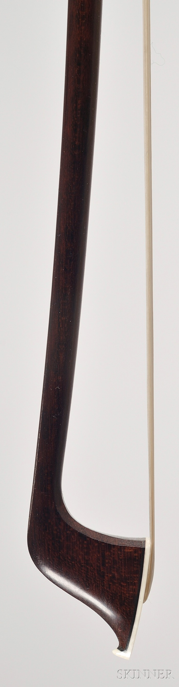 French Nickel Mounted Violoncello Bow, Pierre Cuniot, c. 1870