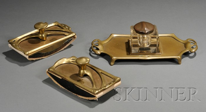Two Art Nouveau Blotters and a Inkwell